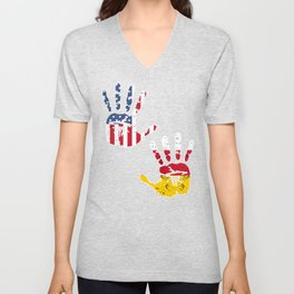 USA Germany Handprint & Flag | Proud German American Heritage, Biracial American Roots, Culture, Unisex V-Neck