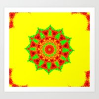 Lovely Healing Mandalas in Brilliant Colors: Red, Yellow, and Green Art Print