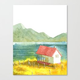 Home and Mountain and Lake and Yellow Field Canvas Print