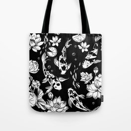koi carp and water lillies black and white pattern Tote Bag