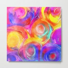 Swirly Watercolor Wash Metal Print
