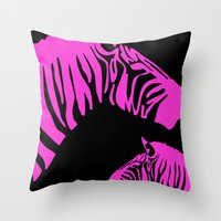 code Throw Pillows featuring Zebra Code by nessieness