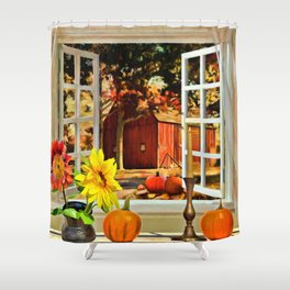 Autumn Harvest Painting by Liane Wright Shower Curtain