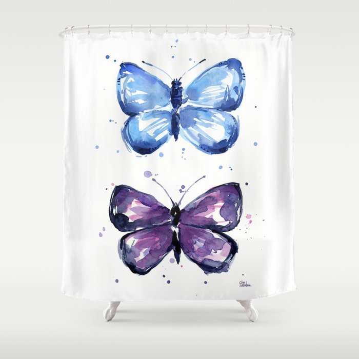 Butterflies Watercolor Blue and Purple Butterfly Shower Curtain by ...