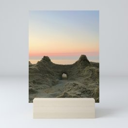 Sandcastle sunrise at the ocean | Rehoboth Beach, DE Mini Art Print