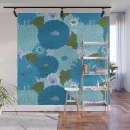 Retro Blue Floral Pattern Wall Mural