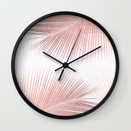 Palm leaf synchronicity - rose gold Wall Clock