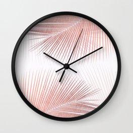 Palm leaf synchronicity - rose gold Wall Clock
