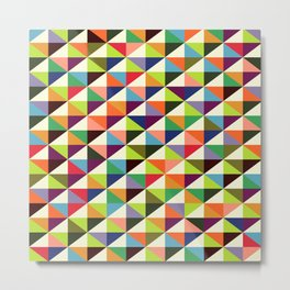 Geometric Pattern 86 (colorful mid-century triangle) Metal Print