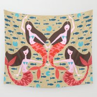 mermaids Wall Tapestries featuring Mermaids on Kraft by Cat Coquillette