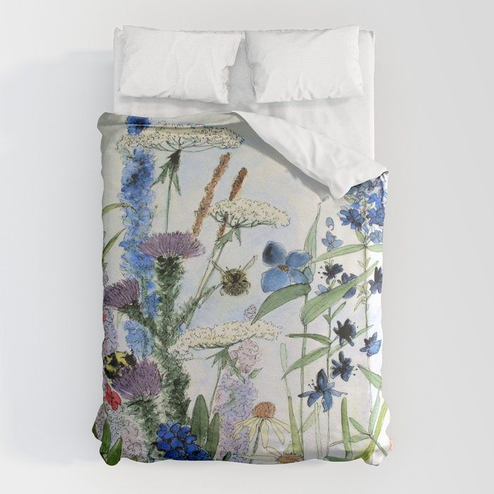 Wildflower in Garden Watercolor Flower Illustration Painting Bettbezug