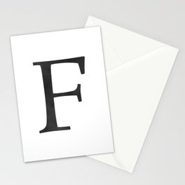 Letter F Initial Monogram Black and White Stationery Cards