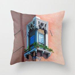 A window in Venezia: La finestra 1 Throw Pillow