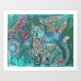 Garden Kitty Art Print