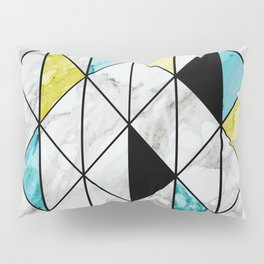 Marble Colorblocking with Yellow and Turquoise Pillow Sham