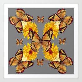 GREY ART BUTTERFLIES & YELLOW SUNFLOWERS NATURE Art Print