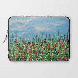 Summer Wildflowers, Landscape Art with Flowers Laptop Sleeve
