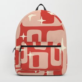 Retro Mid Century Modern Abstract Pattern 129 Red and Beige Backpack