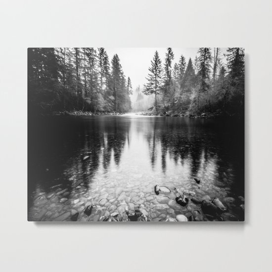 Forest Reflection Lake - Black and White Nature Water Reflection Metal Print