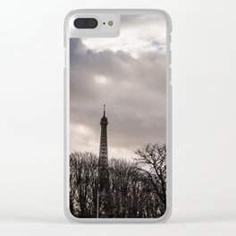 Eiffel tower cloudy day Clear iPhone Case