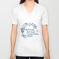 rap V-neck T-shirts featuring Floral Rap #1 by Mei Lee