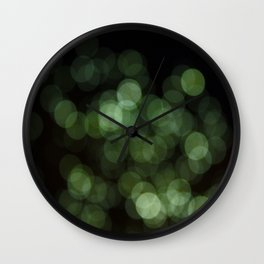 Bokeh Blurred Lights Shimmer Shiny Dots Spots Circles Out Of Focus Green Wall Clock