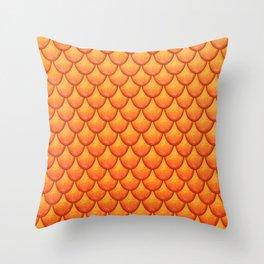 Fish Scales - Orange Version Throw Pillow