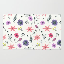 Abstract coral purple violet vector floral pattern Rug