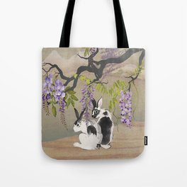Two Rabbits Under Wisteria Tree Tote Bag