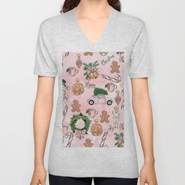 THE VERY PINK CHRISTMAS WATERCOLOR PATTERN Unisex V-Neck