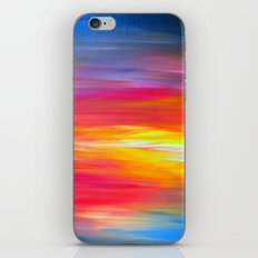 BRIGHT HORIZONS Bold Colorful Rainbow Pink Yellow Blue Abstract Painting Sunrise Sunset Stripes  iPhone & iPod Skin