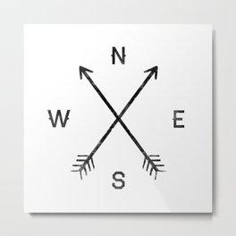 Compass (White) Metal Print