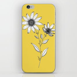 Wildflower line drawing | Botanical Art iPhone Skin