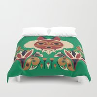 deco Duvet Covers featuring Mono Deco by Ashley Hay