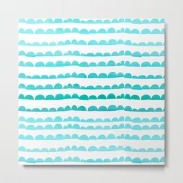 Handdrawn fun stripes pattern in turquoise on white background #Society6 Metal Print