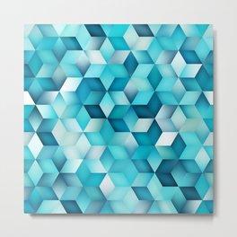 Blue Shades Gradient Rhombus Shape Grid Pattern. Abstract Geometric Print Metal Print