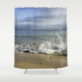 White Water Waves Crashing on Winter Beach Shower Curtain