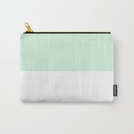 White and Pastel Green Horizontal Halves Carry-All Pouch
