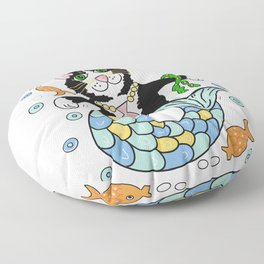 Fantasy mermaid cat white  Floor Pillow