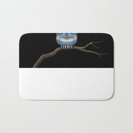 Baby Owl with Glasses and Argentine Flag Bath Mat