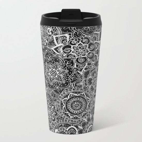 Delicate Lace Mandala Pattern Metal Travel Mug