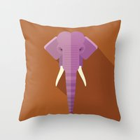 asian Throw Pillows featuring Asian Elephant by Fabio Rex