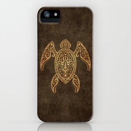 Intricate Vintage and Cracked Sea Turtle iPhone Case