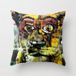 Lion Eyes Abstract Human Animal Illustration Throw Pillow