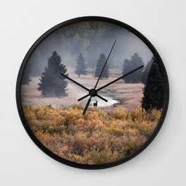 Moosey Misty Morning Wall Clock