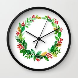 Festive winter wreath in watercolor Wall Clock