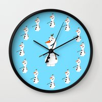 olaf Wall Clocks featuring Olaf by Dewdroplet