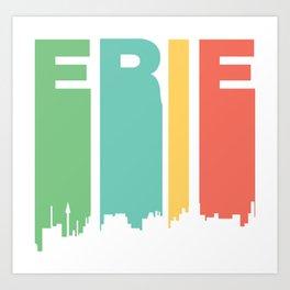 Retro 1970's Style Erie Pennsylvania Skyline Art Print