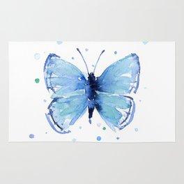 Blue Butterfly Watercolor Butterflies Animals Rug