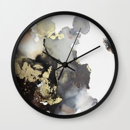 Black and gold abstract alcohol ink art Wall Clock
